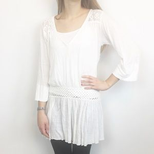 Free People Tunic Boho Size Small 3/4 Sleeve Vneck